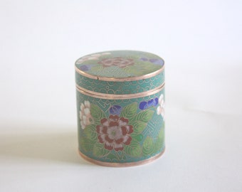 RESERVED: Vintage Round Cloisonne Box with Lid