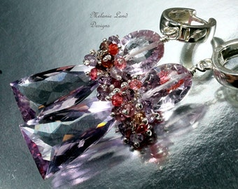 Lavender Dreams - Rose de France Lavender amethyst, Spinel Sterling Silver Hoops