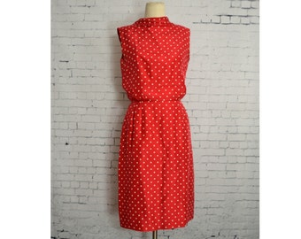 Vintage 1950's Red Silk Dress // Sleeveless Red Dress with White Polka Dots