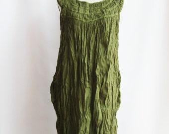 D1, Leaf, Ruffle Sleeveless Light Green Cotton Dress