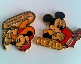 """Two Mickey Mouse Frig Magnets """"Read"""" """"Things to Round Up"""""""