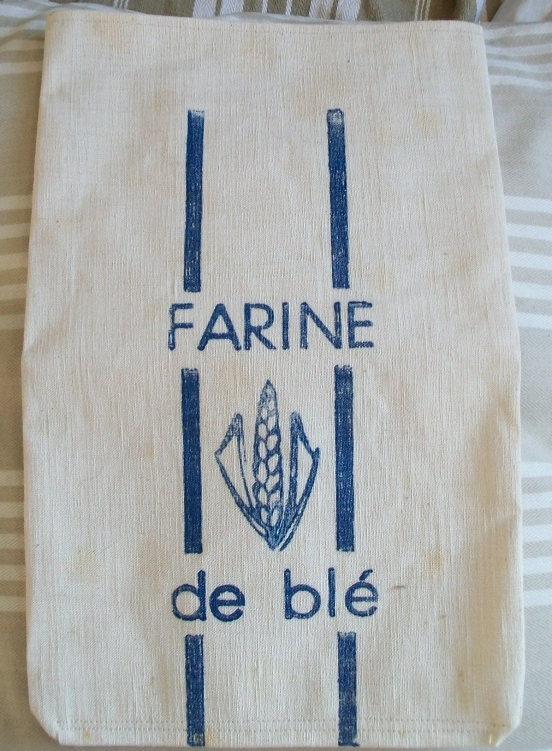 Vintage French Flour Sack calico Toile Linen by ...