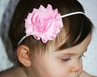Pink   Flower  Headband, Baby Headband, small flower headband, Infant Headband,, Newborn Headband, Girl Headband.