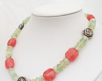 Сherry Quartz and Prehnite Necklace, Pink and Olive Green Necklace, Gemstone Necklace, UK Seller