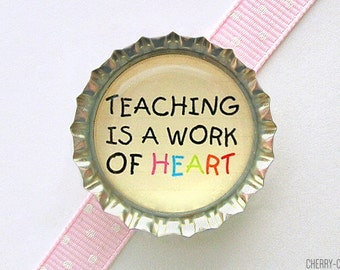 Teacher Magnet, Bottle Cap Magnet, teacher christmas gift, unique teacher gift for teachers, stocking stuffer, teacher appreciation, decor