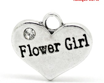 "1 or 2 or 4 or 10 pcs. Antique Silver ""Flower Girl"" charm with rhinestone- 16mm X 14mm"