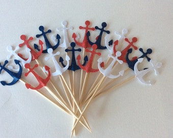 24 anchor -Nautical baby shower party Cupcake Toppers Baby Shower - Food Picks