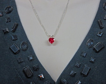 Ruby Heart Necklace  - Ruby, Sterling Silver, Fine Silver Necklace - Valentine's Day Gift Necklace