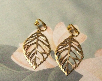 Large Lightweight  Antiqued Gold or Copper Leaf Clip On Earrings or Pierced