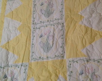 Yellow and white tulip embroidered queen quilt