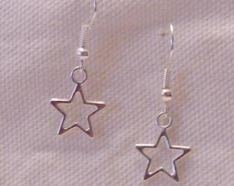 Star Earrings, Metal Star Earrings, Star Charms