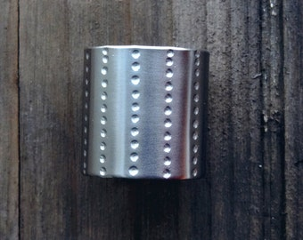 Dotted lines tube ring / Wide band ring / minimalist tube ring / wide cuff ring / simple tube ring / armor ring