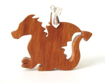 Wooden Dragon Pendant Necklace Medieval Fantasy Fairy Tale Jewelry Scroll Saw Hand Cut