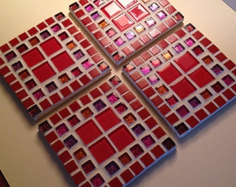 Set of 4 Mosaic Coasters with four red centres