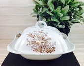 Vintage Brown Transfer-ware Ironstone Covered Butter Dish