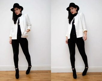 Vintage Off White Classic Mini Jacket Blazer 90s