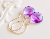 Moss Amethyst Earrings, Sterling Silver Drops, Wire Wrapped, Simple, Semiprecious Gemstone, Purple Jewelry, Free Shipping