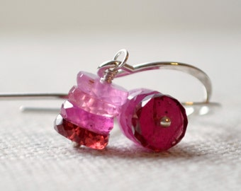 Real Pink Sapphire Earrings, Sterling Silver, Drop, Red Garnet Gemstones, Valentine Jewelry, Precious Stone, Ombre Jewelry, Free Shipping