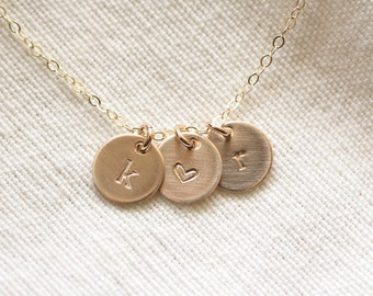 Gold Initial Necklace, Brushed Initial Discs, Personalized Necklace, Matte Initial Charm Necklace, Mothers Necklace, Gold Fill, Hand Stamped