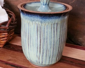 Lidded Storage Jar for Country Style Kitchen Stripe Texture Green READY TO SHIP