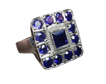 Vintage Sterling Silver and Blue Iolite Ring Square Ring