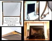 Made to Fit Your Fireplace Hand Forged Iron Elegantly Curled Flat Bar Legs Fireplace Screen by VinTin (Item # F-214)