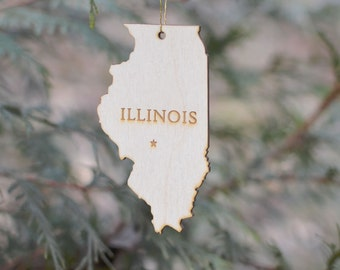 Natural Wood Illinois State Ornament