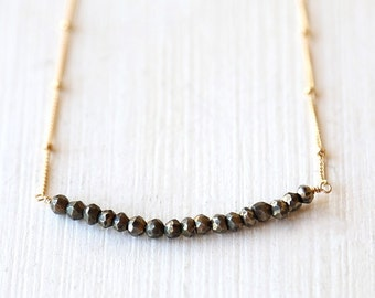 Pretty Pyrite Necklace / 14K Gold Filled / simple everyday modern bridal jewelry