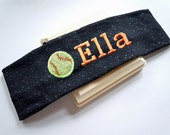 GLITTER Stretch Headband in Sports Themes PERSONALIZED and CUSTOMIZABLE with your name and colors