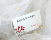 Place Cards with Poppies - Set of 10 Escort Cards - Personalized with Names and Table Numbers