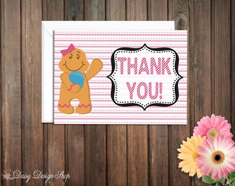 Thank You Cards - Candy Land Inspired with Gingerbread Man or Woman - Set of 10 with Envelopes