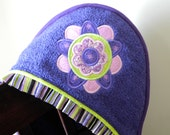 flower hooded towel hippie bohemian flower appliqué many colors available shower gift birthday gift