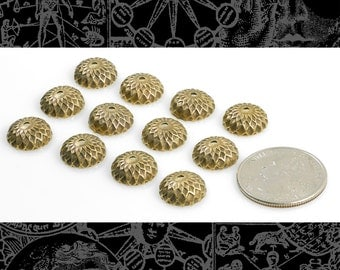 Antique Brass  Acorn Bead Caps,  Set of 12 * AB-BC01