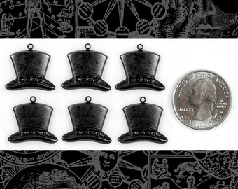Top Hat Charms Blackened Brass - * Set of Six BB-C124