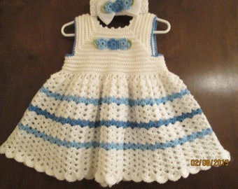 adorable toddler crochet dress with matching headband