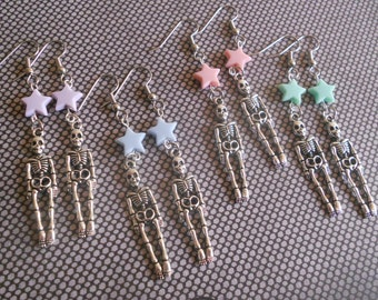 Skeleton with stars Earrings creepy lolita fairy kei pastel goth