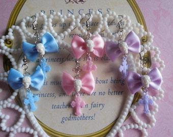 creepy lolita fairy kei earrings bow skull with cross pastel