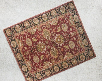 Miniature Rug Red Black and Gold Traditional Design in Smaller Sizes for Dollhouse or Playscale
