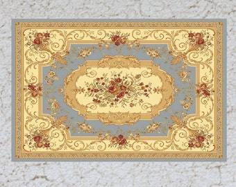 Dollhouse Miniature Rug  1:12 Scale Sky Blue and Pale Yellow Aubusson in Three Sizes