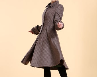 Twirl This Skirt!!/ Classic Wool Long Winter  Coat Dress/ 14 Colors/ RAMIES