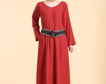 Pleated Linen Long Dress with Traditional Handmade Belt / 14 Colors/ RAMIES