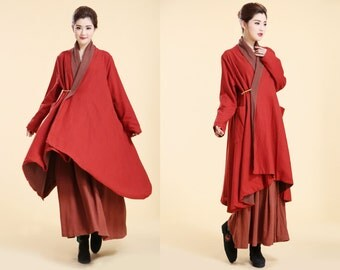 Artistry in a Coat/ Free Style Linen Long Coat with Bamboo Brooch / VERSATILE Lined Cape/ 8  Colors/ RAMIES