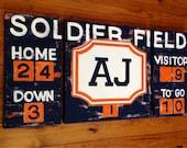 large modern nursery art- personalized triptych painting- vintage scoreboard football baseball - navy orange chicago bears
