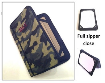 personalized HARD case - ipad case/ kindle case/ nook case/ others - full zipper close - camouflage green