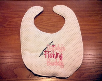 Daddy's Little Fishing Buddy Girl Embroidery Handmade Baby Bib