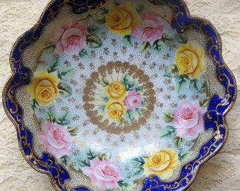 The Empress' Bowl, Gold Cobalt Pink and Yellow Roses Large Serving Fluted Vintage Dish, Hand Painted Nippon, Japan
