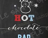 HOT CHOCOLATE BAR Winter Onederland Chalkboard Sign Red Aqua Instant Download Snow Snowman Boy