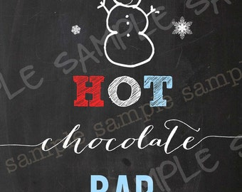 HOT CHOCOLATE BAR Winter Onederland Chalkboard Sign Red Aqua Instant Download Snow Snowman Boy