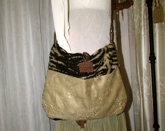 SALE Zebra Fabric Bag, chenille, earth tones, pockets, adjustable strap, long strap, cross over body strap,
