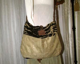 Zebra Fabric Bag, chenille, earth tones, pockets, adjustable strap, long strap, cross over body strap,